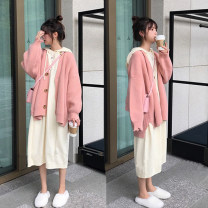 Dress Independent brand Pink coat, dress, pink coat + dress [suit] M,L,XL,XXL Korean version Long sleeves have more cash than can be accounted for autumn other Solid color wool 909#