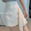skirt Summer 2021 S,M,L White, black Short skirt commute High waist A-line skirt 18-24 years old 1188# Korean version