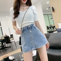 Jeans Summer 2020 Light blue, black S [90-100 kg], m [100-110 kg], l [110-120 kg], XL [120-135 kg], 2XL [135-150 Jin], 3XL [150-165 kg], 4XL [165-175 Jin], 5XL [175-200 Jin] shorts High waist Wide legged trousers routine 18-24 years old Button Cotton denim light colour JSWETR