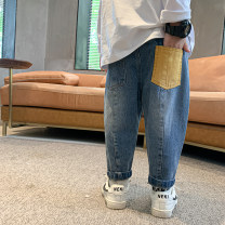 trousers Baiqu bear male 90cm,100cm,110cm,120cm,130cm,140cm,150cm blue spring and autumn trousers Korean version There are models in the real shooting Jeans Leather belt middle-waisted Denim Don't open the crotch Cotton 92% others 8% X20478 Class B