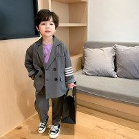 suit Captain Kiki grey 90cm,100cm,110cm,120cm,130cm,140cm,150cm male spring and autumn Korean version Long sleeve + pants 2 pieces routine There are models in the real shooting double-breasted No detachable cap Solid color blending Giving presents at school X21268 Class B Cotton 55% polyester 45%