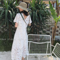 Dress Summer of 2018 white S,M,L Mid length dress singleton  Short sleeve commute V-neck middle-waisted Solid color zipper A-line skirt routine Others Type X More than 95% Lace other