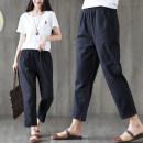 Casual pants White, black, sapphire, khaki M,L,XL,2XL Summer of 2019 Cropped Trousers Wide leg pants Versatile routine 25-29 years old 81% (inclusive) - 90% (inclusive) cotton cotton