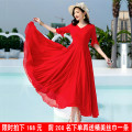 Dress Summer 2021 Red, black, rose, sky blue, bright yellow, white, gem blue S,M,L,XL,2XL,3XL,4XL,5XL longuette singleton  Short sleeve Sweet V-neck High waist Solid color Socket Big swing Lotus leaf sleeve Others 25-29 years old Type X Royal Princess Ruffles, pleats, stitching, zippers Jsxf-099