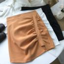 skirt Spring 2021 S,M,L White, black, orange Short skirt commute High waist skirt Solid color Type A 18-24 years old zipper Korean version