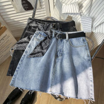 skirt Spring 2021 S,M,L Blue, black Short skirt commute High waist A-line skirt Solid color Type A 18-24 years old Denim cotton pocket Korean version