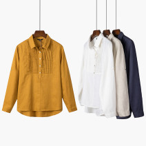 shirt M,L,XL,2XL Spring 2021 hemp 96% and above Long sleeves Regular Half open collar Single row multi button routine Solid color Straight cylinder Other / other flax