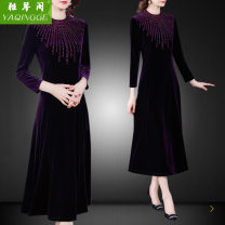 Dress Autumn 2020 violet L,XL,2XL,3XL,4XL longuette singleton  Long sleeves commute Crew neck middle-waisted Solid color zipper A-line skirt routine Others Type A Retro Zipper, stitching 71% (inclusive) - 80% (inclusive) other other