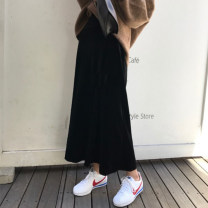 skirt Autumn of 2018 S,M,L,XL,2XL,3XL,4XL,5XL black Mid length dress Versatile High waist A-line skirt Solid color Type A 25-29 years old other