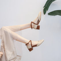 Sandals 34,35,36,37,38,39,40 Beige, beige, brown xsx-5, blue xsx-5 Superfine fiber Other / other Baotou Thick heel Middle heel (3-5cm) Spring 2021 Flat buckle Korean version Color matching Adhesive shoes Youth (18-40 years old) rubber daily Bag heel Low Gang Hollow Two layer pigskin Microfiber skin