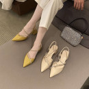 Sandals 34,35,36,37,38,39,40,41 Apricot, lemon, black Superfine fiber Other / other Baotou Thick heel High heel (5-8cm) Spring 2021 Flat buckle Korean version Solid color Adhesive shoes Youth (18-40 years old) rubber daily Back space Diamond, thick heel, metal decoration, Roman style Low Gang Hollow