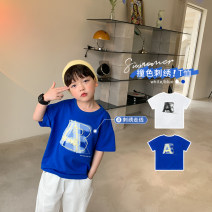 T-shirt OO+KIDS 80cm,90cm,100cm,110cm,120cm,130cm,140cm,150cm neutral summer Short sleeve Crew neck Korean version There are models in the real shooting other letter other 2 years old, 3 years old, 4 years old, 5 years old, 6 years old Chinese Mainland