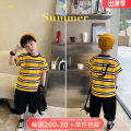 T-shirt Yellow stripe, yellow stripe pre-sale OO+KIDS 80cm,90cm,100cm,110cm,120cm,130cm,140cm,150cm neutral summer Short sleeve Crew neck Korean version There are models in the real shooting other stripe other 2 years old, 3 years old, 4 years old, 5 years old, 6 years old Chinese Mainland
