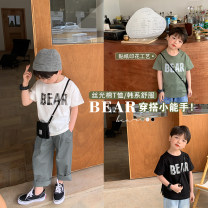 T-shirt OO+KIDS 80cm,90cm,100cm,110cm,120cm,130cm,140cm neutral Short sleeve Crew neck Korean version There are models in the real shooting other letter other 2 years old, 3 years old, 4 years old, 5 years old, 6 years old Chinese Mainland