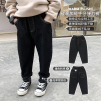 trousers OO+KIDS neutral 80cm,90cm,100cm,110cm,120cm,130cm,140cm,150cm Denim black winter trousers Korean version There are models in the real shooting Jeans Leather belt middle-waisted other other 2 years old, 3 years old, 4 years old, 5 years old, 6 years old Chinese Mainland
