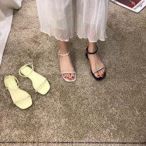 Sandals 35,36,37,38,39 Jfa88-1 black, jfa88-1 apricot, jfa88-1 yellow PU Other / other Round head Flat heel Flat heel (1cm or less) Summer 2021 Flat buckle Buckle, water drill Flat buckle