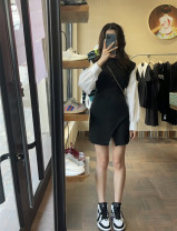 Dress Spring 2021 black S,M,L,XL singleton  Long sleeves commute Crew neck High waist Solid color Socket Irregular skirt shirt sleeve Simplicity 51% (inclusive) - 70% (inclusive) other cotton