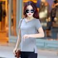 T-shirt S,M,L,XL,2XL,3XL,4XL Short sleeve V-neck easy Regular routine commute cotton 86% (inclusive) -95% (inclusive) Korean version classic Solid color Yiyaou Splicing