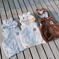 Vest neutral Light grey, brown, white 80cm,90cm,100cm,110cm,120cm,130cm oli de via spring and autumn thickening There are models in the real shooting zipper leisure time flannelette Cartoon animation Class A 18 months, 2 years, 3 years, 4 years, 6 years