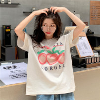 T-shirt White, pink Average size Summer 2021 Short sleeve Crew neck easy Regular routine commute cotton 96% and above 18-24 years old originality Cartoon animation printing