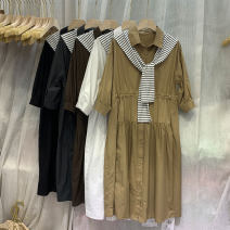 Dress Spring 2021 M, L Mid length dress singleton  elbow sleeve commute Polo collar High waist Solid color Single breasted Big swing 25-29 years old Type H Korean version other