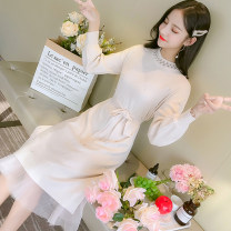 Dress Autumn 2021 Apricot, pink, blue S,M,L,XL Mid length dress singleton  Long sleeves commute Crew neck middle-waisted Solid color Socket A-line skirt other Type A Korean version 81% (inclusive) - 90% (inclusive) knitting