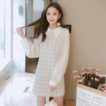 Dress Autumn 2021 Apricot, pink, blue, apricot (965) S,M,L,XL Mid length dress singleton  Long sleeves commute Doll Collar middle-waisted Solid color zipper A-line skirt other Type A Korean version Splicing 81% (inclusive) - 90% (inclusive) Light tweed