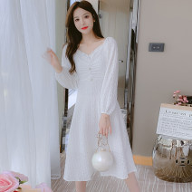 Dress Autumn 2021 white S,M,L,XL Mid length dress singleton  Long sleeves commute square neck middle-waisted Decor zipper A-line skirt puff sleeve Type A Korean version Splicing 81% (inclusive) - 90% (inclusive) Chiffon