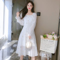 Dress Autumn 2021 white S,M,L,XL Mid length dress singleton  Long sleeves commute square neck middle-waisted Broken flowers zipper A-line skirt other Type A Korean version Button, button 81% (inclusive) - 90% (inclusive) Chiffon