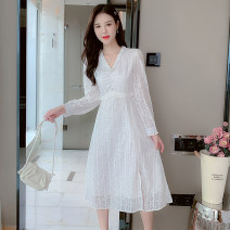 Dress Autumn 2021 white S,M,L,XL Mid length dress singleton  Long sleeves commute V-neck middle-waisted Solid color zipper A-line skirt other Type A Korean version Fungus, splicing 81% (inclusive) - 90% (inclusive) Chiffon