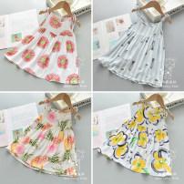 Dress female Viscose (viscose) 100% summer Skirt / vest other viscose  A-line skirt 12 months, 6 months, 9 months, 18 months, 2 years old, 3 years old, 4 years old, 5 years old, 6 years old, 7 years old, 8 years old Chinese Mainland Zhejiang Province