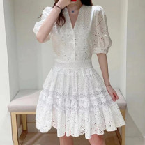 Dress Spring 2021 White, black S,M,L Mid length dress singleton  Short sleeve Sweet V-neck High waist Solid color zipper 25-29 years old Dbny / changeable girlfriend