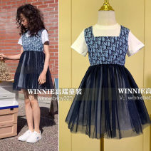 Dress female Other / other 110cm,120cm,130cm,140cm,150cm,160cm Cotton 100% summer Europe and America Short sleeve letter cotton Pleats Chinese Mainland Guangdong Province Guangzhou City