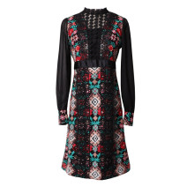 Dress Spring 2020 black S Middle-skirt singleton  Long sleeves commute stand collar High waist zipper other Others 25-29 years old Type A Ye Lixin Retro Embroidery, Gouhua and hollowing out XIAOMEI 51% (inclusive) - 70% (inclusive)