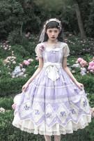Lolita / soft girl / dress Qingluo violet L,M,S,XL Pre sale Solid embroidery jsk
