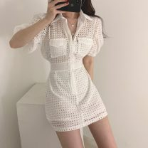Dress Summer of 2019 White, black S,M,L,XL Short skirt Fake two pieces Short sleeve commute Polo collar High waist Solid color zipper A-line skirt puff sleeve 18-24 years old Type A Other / other Korean version Hollowed out, bare back 51% (inclusive) - 70% (inclusive) cotton