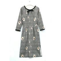 Dress Spring 2020 grey M,L,XL,2XL,3XL Mid length dress singleton  Nine point sleeve Crew neck High waist lattice zipper Pencil skirt routine Type H Other / other