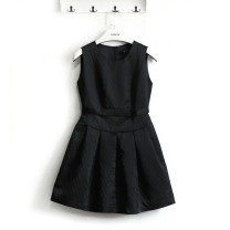 Dress Spring of 2018 black S,M,L,XL,2XL Short skirt singleton  Sleeveless commute Crew neck middle-waisted Solid color zipper Princess Dress straps Type X Other / other lady Bow, tuck 8537B65012 Silk and satin
