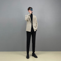 man 's suit Ginger, off white, black, light khaki Others Youth fashion routine S. M, l, XL, 2XL, physical shooting, buy at ease, the owner keeps, the effect is excellent, versatile, leisure can be formal, feel silky, full of texture Self cultivation A single breasted button Other leisure teenagers