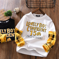T-shirt Fat dad's house male spring and autumn Long sleeves Crew neck Simplicity No model nothing Pure cotton (100% cotton content) other Cotton 100% Class B Sweat absorption 3, 4, 5, 6, 7, 8, 9, 10, 11, 12, 13, 14, 14 and above Chinese Mainland