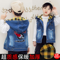 Vest male Spring and autumn cotton lining plate, winter cotton and velvet lining plate Hang tag 110, height 100, hang tag 120, height 110, hang tag 130, height 120, hang tag 140, height 130, hang tag 150, height 140 Other / other spring and autumn Plush There are models in the real shooting Denim