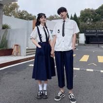 student uniforms Summer 2021 Shirt + tie (Unisex), skirt, pants, suit, suit S. M, l, XL, XXL, XXXL, customized class clothes Short sleeve Korean version skirt 18-25 years old Other / other pure cotton 81% (inclusive) - 90% (inclusive)