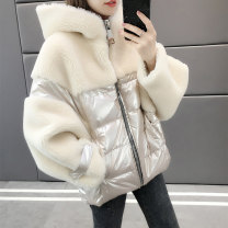 short coat Autumn of 2019 S M L XL Off white fluorescent green Long sleeves routine thickening singleton  easy other Hood zipper other 25-29 years old Silky 96% and above Pocket thread zipper B2028 other Other 100% Exclusive payment of tmall