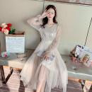 Dress Spring 2020 Off white S,M,L Mid length dress Long sleeves Elastic waist