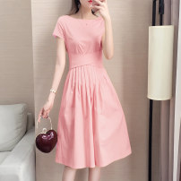 Dress Summer 2021 Bright pink light blue S M L XL XXL Mid length dress singleton  Short sleeve commute Crew neck High waist Solid color Socket A-line skirt routine Others 25-29 years old Type A Audubon / Audubon Korean version Bow tie AD19XT1299 More than 95% other Other 100%