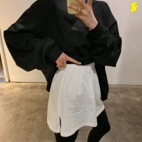 skirt Winter 2020 One size fits all Solid color, crescent moon, love, hole, black and white letters, leopard, smiling face, [base skirt] pure white 203123043668 Short skirt commute High waist A-line skirt Solid color Type A 18-24 years old cec11 other Other / other hole Korean version