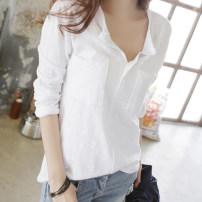 T-shirt White, black, lemon yellow, silver gray, pink, taro S,M,L,XL,2XL,3XL Summer 2020 Long sleeves V-neck easy Regular routine commute cotton 96% and above Korean version