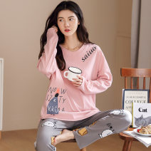 Pajamas / housewear set female Other / other M,L,XL,XXL,XXXL cotton Long sleeves Cartoon Leisure home autumn routine Crew neck Cartoon animation trousers Socket youth 2 pieces rubber string 81% (inclusive) - 95% (inclusive) Knitted cotton fabric printing 400g