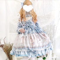 Dress Autumn of 2019 Blue dress, pink dress, blue dress + headdress, pink dress + headdress S,M,L longuette singleton  Long sleeves Sweet Polo collar High waist Cartoon animation Socket Princess Dress routine Others Type X Bows, ruffles, pockets, buttons, prints other Lolita