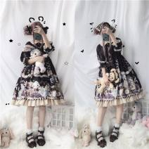 Dress Summer of 2019 Blue, pink S,M,L Middle-skirt singleton  elbow sleeve Sweet Doll Collar middle-waisted Decor Socket Princess Dress Others Type X Lolita